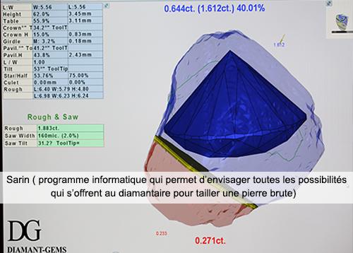 Capture d'écran du logiciel Sarin
