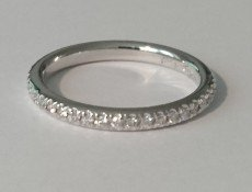 Diamond pave wedding ring - semi-domed band - BA01