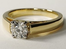 Wide band yellow gold diamond solitaire ring - BS05