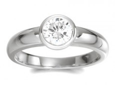 Bezel set surround round diamond ring - BS13