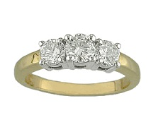 3 diamonds set on yellow gold ring - BT02