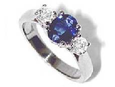 Central sapphire and diamond duo ring - BT04