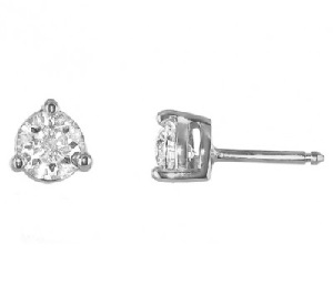 Diamond earrings 3 prongs - B01