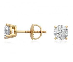 Boucles d'oreilles or jaune en diamants