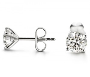 Boucles d'oreilles diamants 4 griffes fines