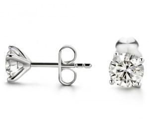 Boucles d'oreilles diamants 4 griffes fines
