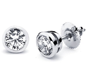 set stud platinum diamond union w bezel earrings