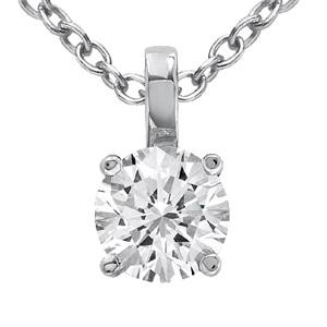 Pendentif diamant rond tenu par bélière