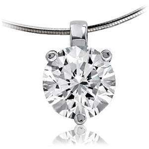 Pendentif diamant rond chaîne serpent