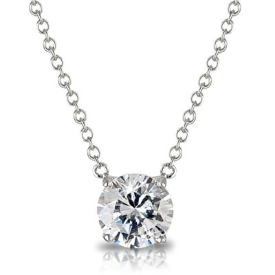 Solitaire pendant in 18k white yellow or pink gold classic diamond solitaire pendant pe01 aloadofball Choice Image