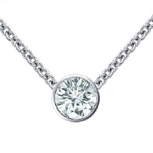 Bezel set round diamond pendant - PE05