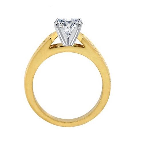 bague solitaire or 18k jaune avec pavage diamants. Black Bedroom Furniture Sets. Home Design Ideas