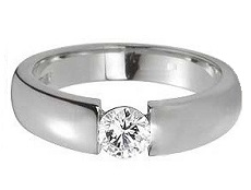 Flat band round diamond ring - BS11