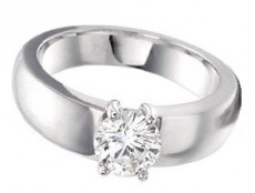 Semi-domed band round diamond solitaire - BS12
