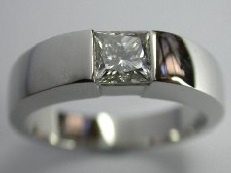 Bezel set square diamond solitaire ring - BS22