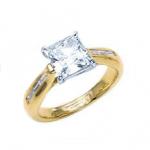 Yellow gold Princess diamond ring (pave) - BS19