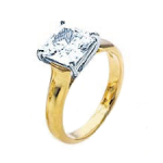 Yellow gold Princess diamond ring - BS19