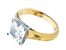 Solitaire Or jaune diamant princesse BS19