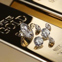 diamants sur lingot d'or