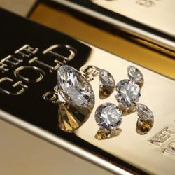 diamonds on gold bullion