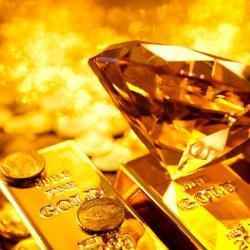 lingotti d'oro e diamanti