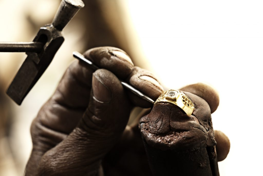 creation of a diamond ring in workshop