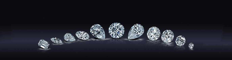 diamants blancs de différentes formes