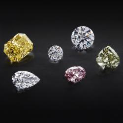 diamants de différentes couleur et formes