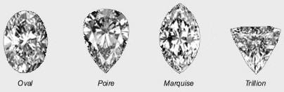 exemple de formes d'un diamant (oval, poire, marquise, trillion)