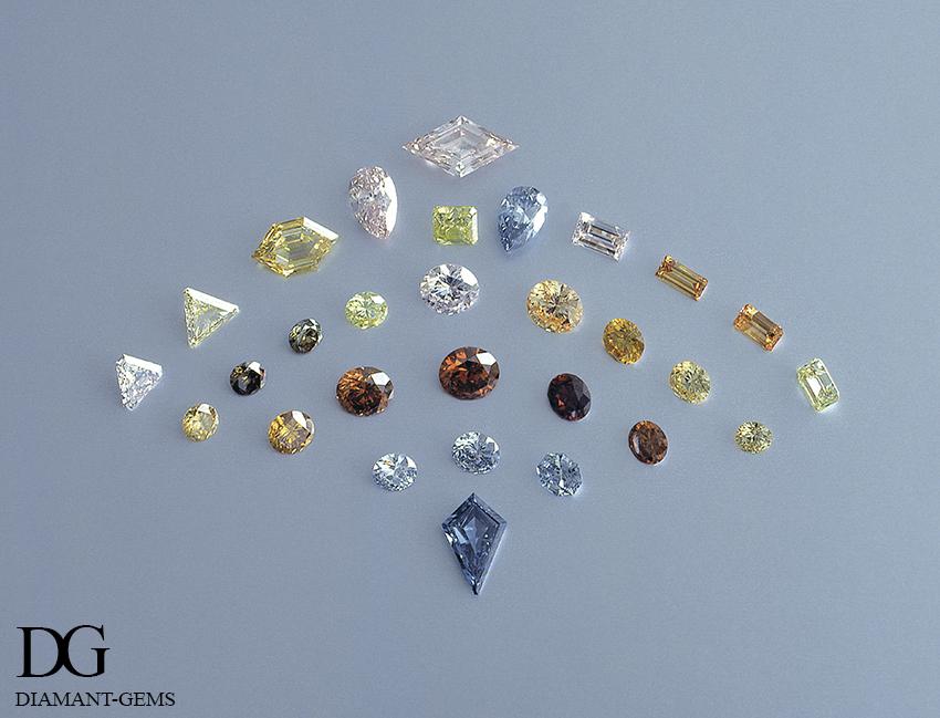 Différentes couleurs de diamants