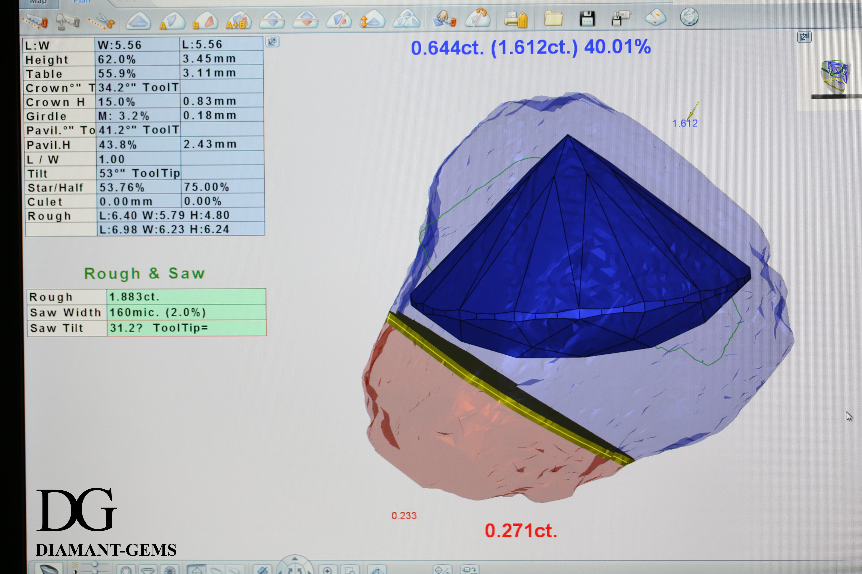 la Sarin : programme informatique d'aide à la taille d'un diamant brut