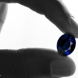 saphir bleu, taille ovale tenu entre deux doigts