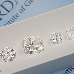 observation de différentes formes de diamants blancs