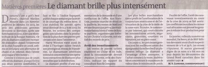 Le diamant brille plus intensément, article journal Le Monde