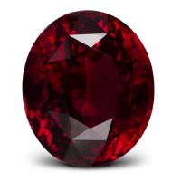 lovely red ruby with oval cut