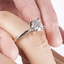 engagement ring, diamond solitaire on ring finger