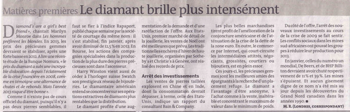 articolo investimento diamante, Le Monde