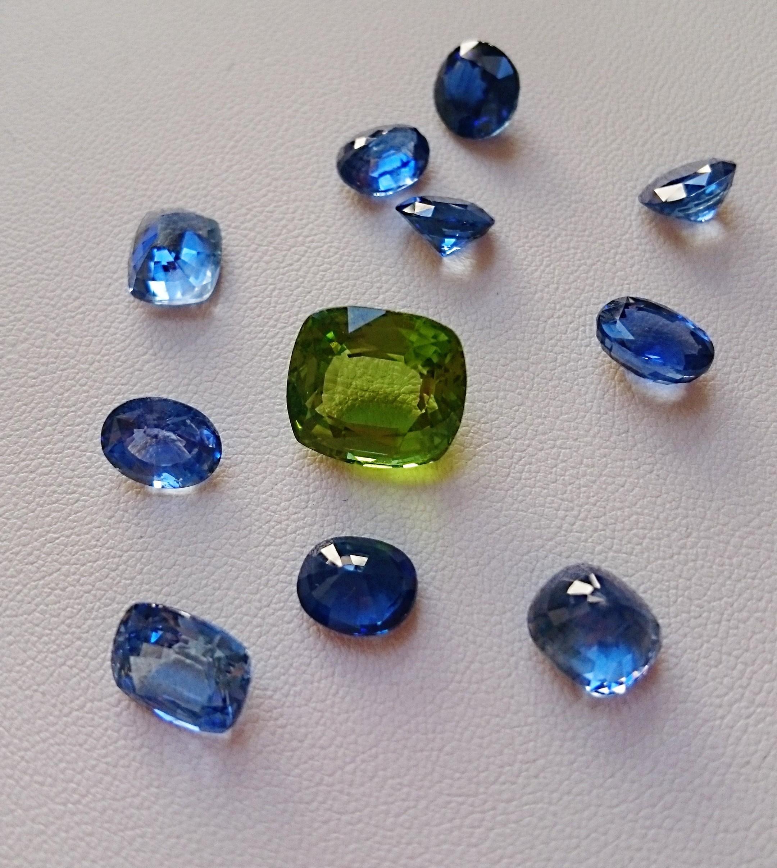 pierres précieuses : saphirs et pierre fine : péridot