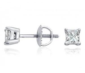 Boucles d'oreilles diamants princesse 4 griffes