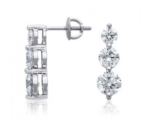 Boucles d'oreilles pendantes 3 diamants