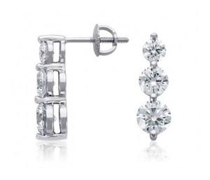 Boucles d'oreilles pendantes 3 diamants