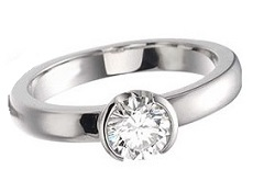 Partially bezel set solitaire diamond - BS15