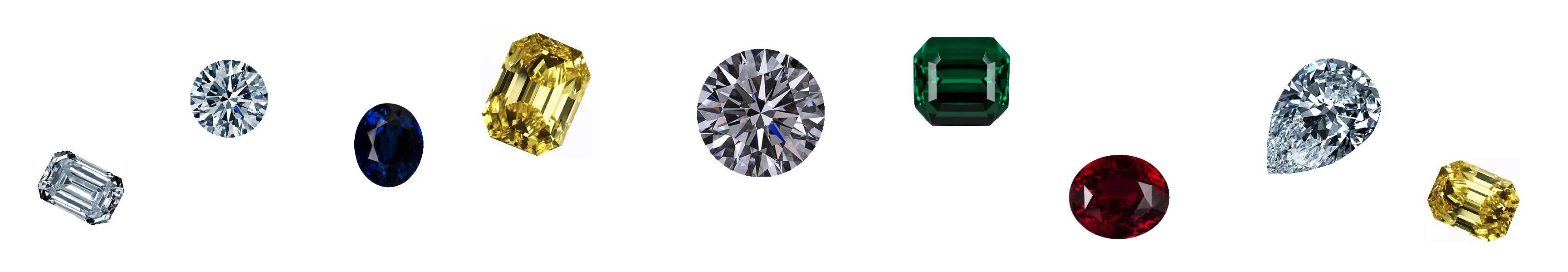 gemstones : diamonds, rubies, sapphires, emeralds