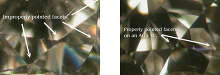 distinguish a diamond from a zircon thanks to the sharpness of facets or scratches