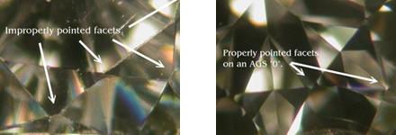 différencier un diamant d'un zircon grâce à la netteté des facettes ou rayures