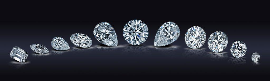 diamanti bianchi con taglio brillante, goccia, ovale e smeraldo